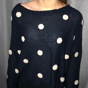 Off the shoulder polka dot loose sweater